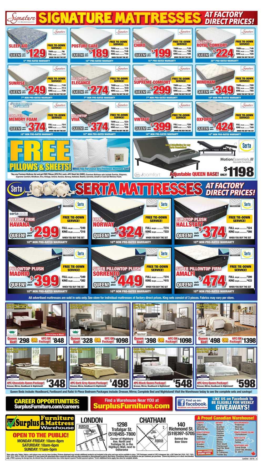 surplus furniture mattress warehouse edmonton flyer april 3 to 9