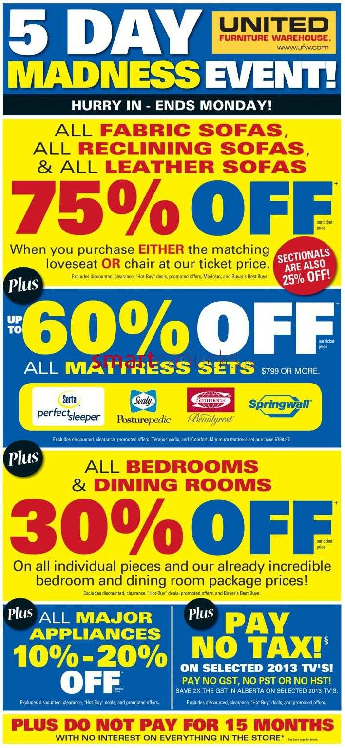 United Furniture Warehouse United Furniture Warehouse Flyer Apr 4 To 8