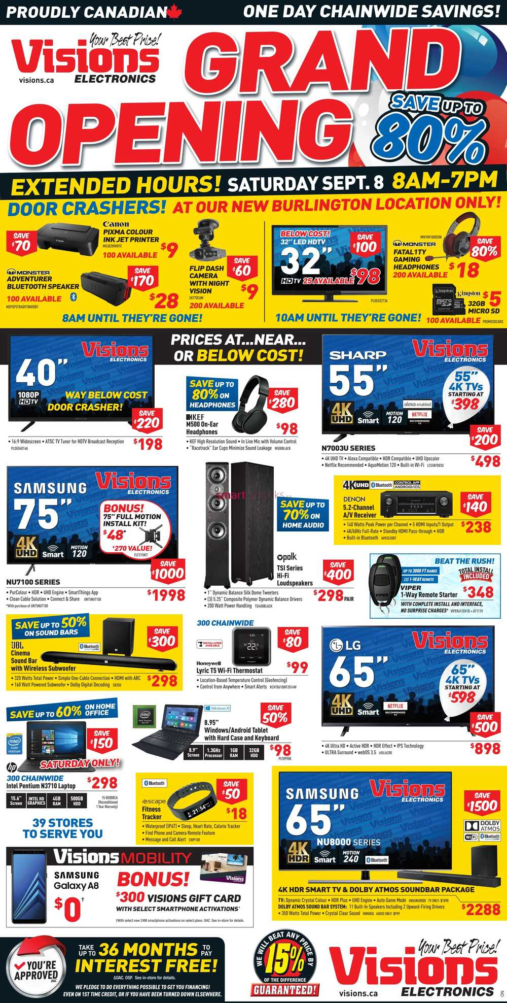 visions electronics on grand opening one day flyer september 8