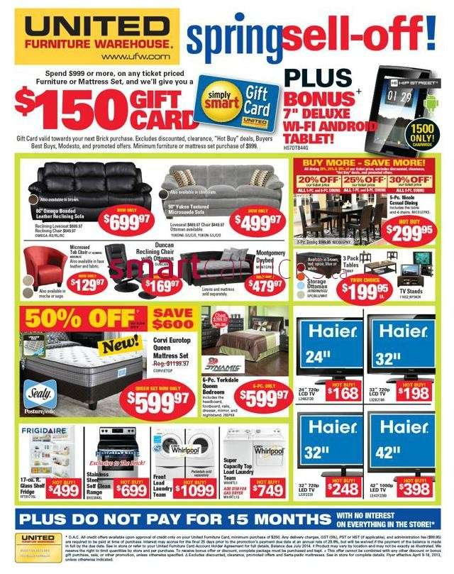 United Furniture Warehouse United Furniture Warehouse Flyer Apr 9 To