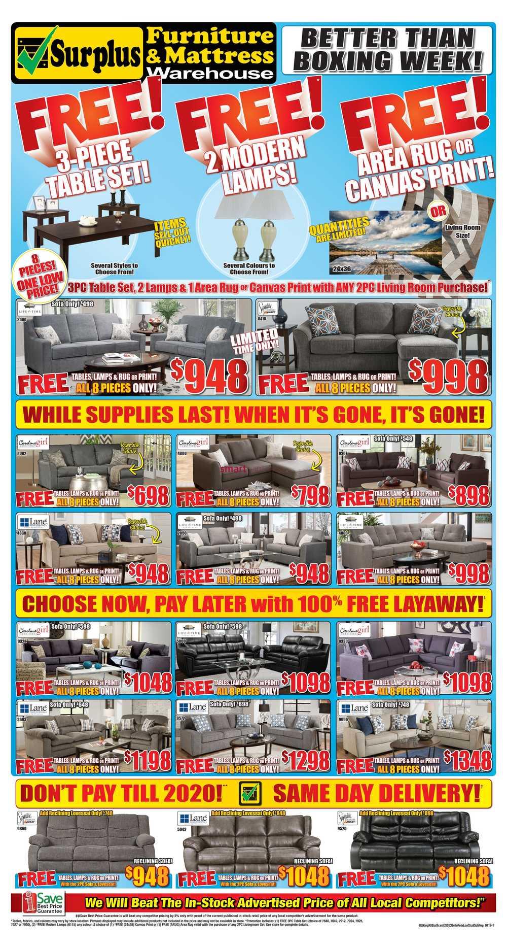 Surplus Furniture & Mattress Warehouse (Kingston) Flyer January 1 to 7
