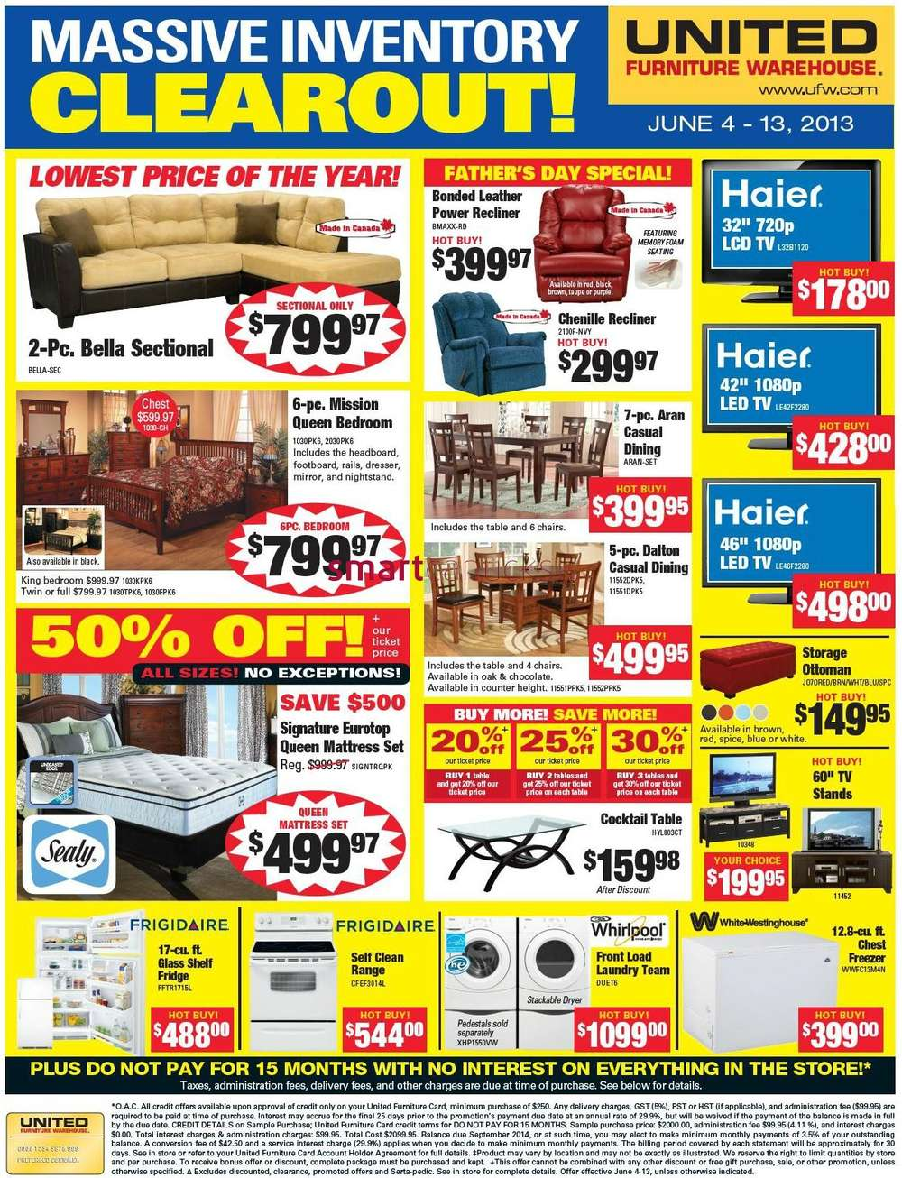 United furniture warehouse flyer jun 4 to 13 for A furniture warehouse