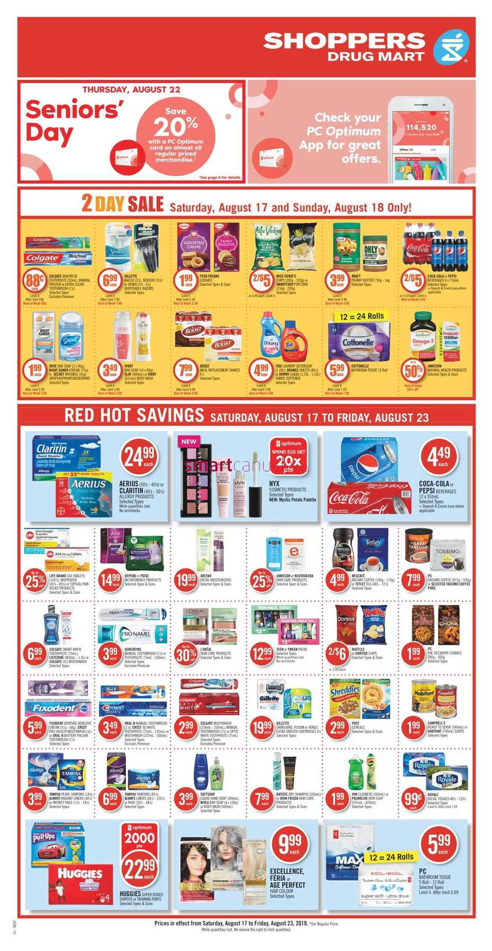 Shoppers Drug Mart (West) Flyer August 17 to 23 | Shoppers
