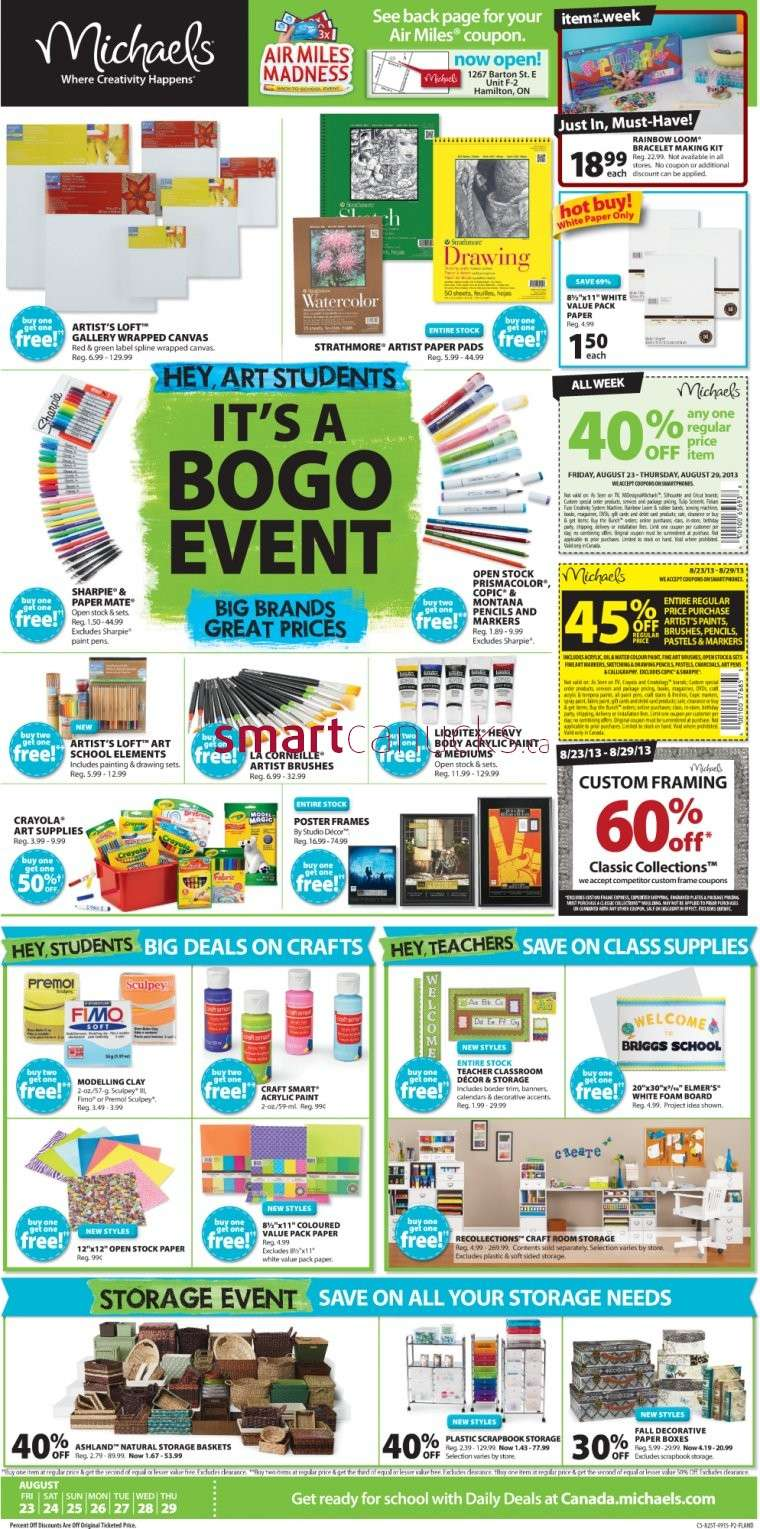 Michaels flyer august 23 to 29 for Micheals craft store hours