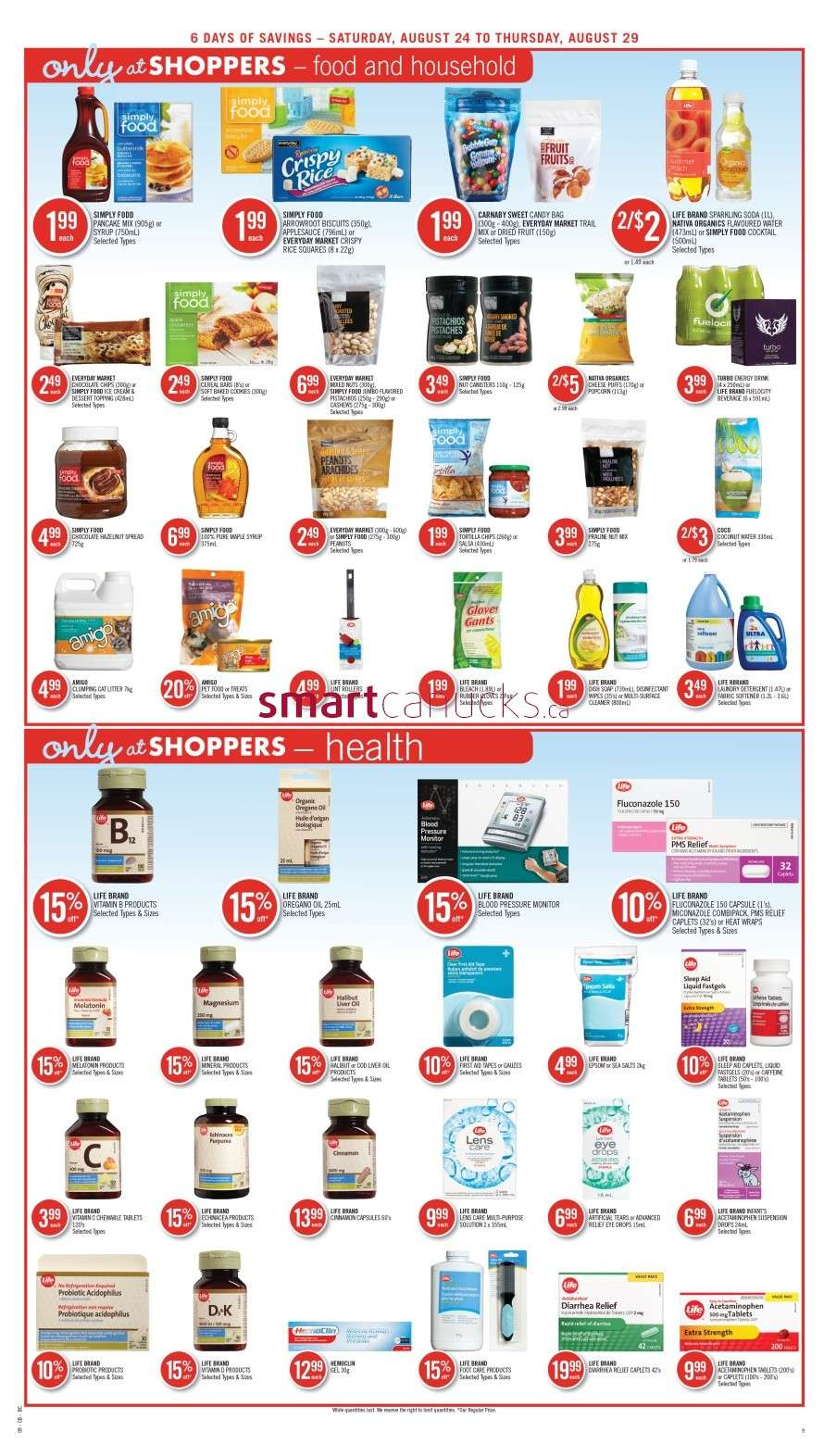 Shoppers Drug Mart(West) flyer August 24 to 29