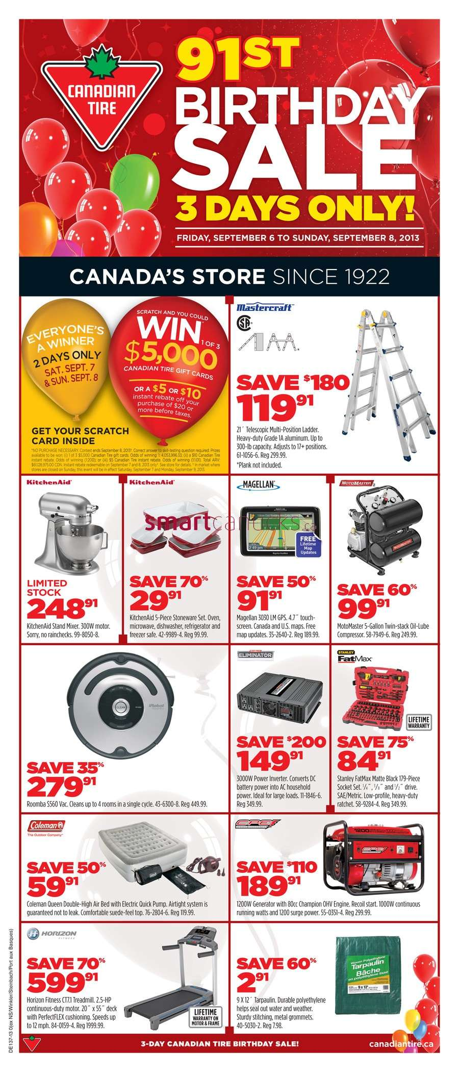 Canadian Tire Birthday Sale flyer September 6 to 8