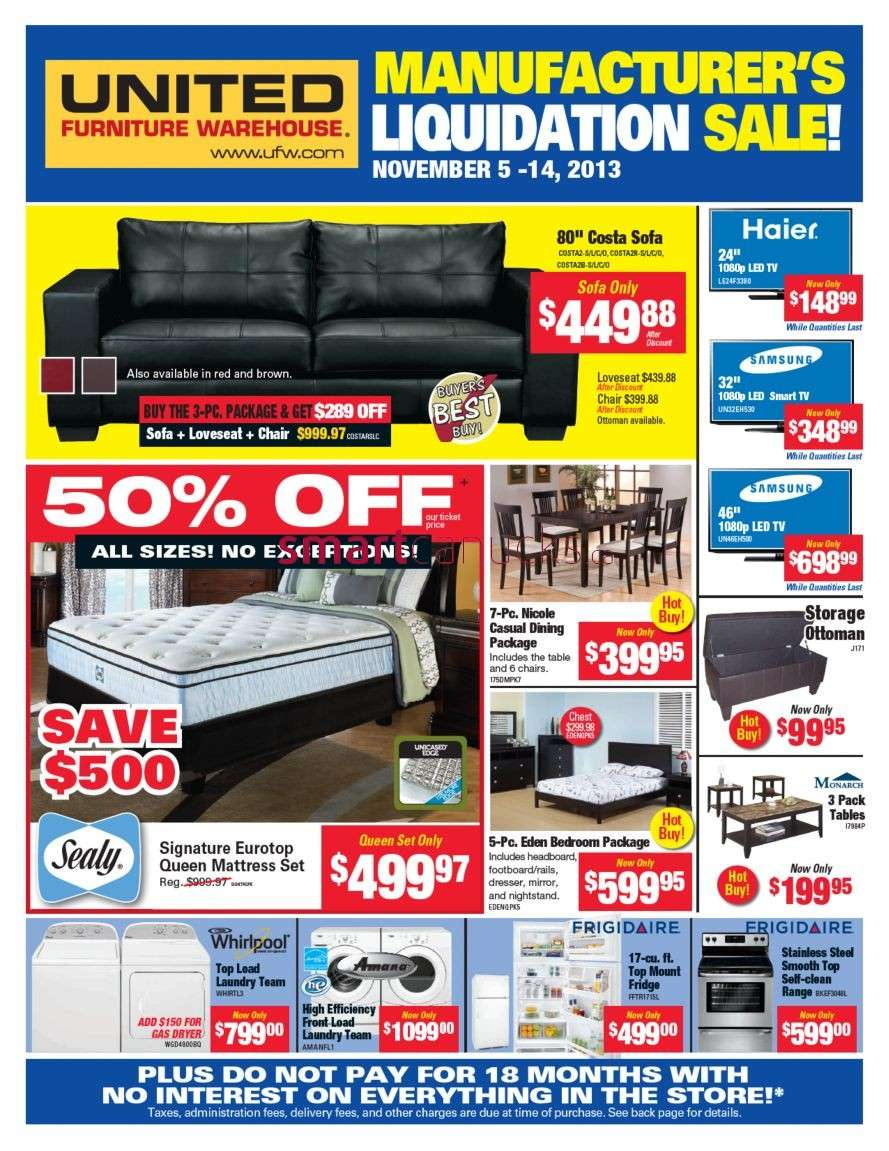 united furniture warehouse flyer november 5 to 14