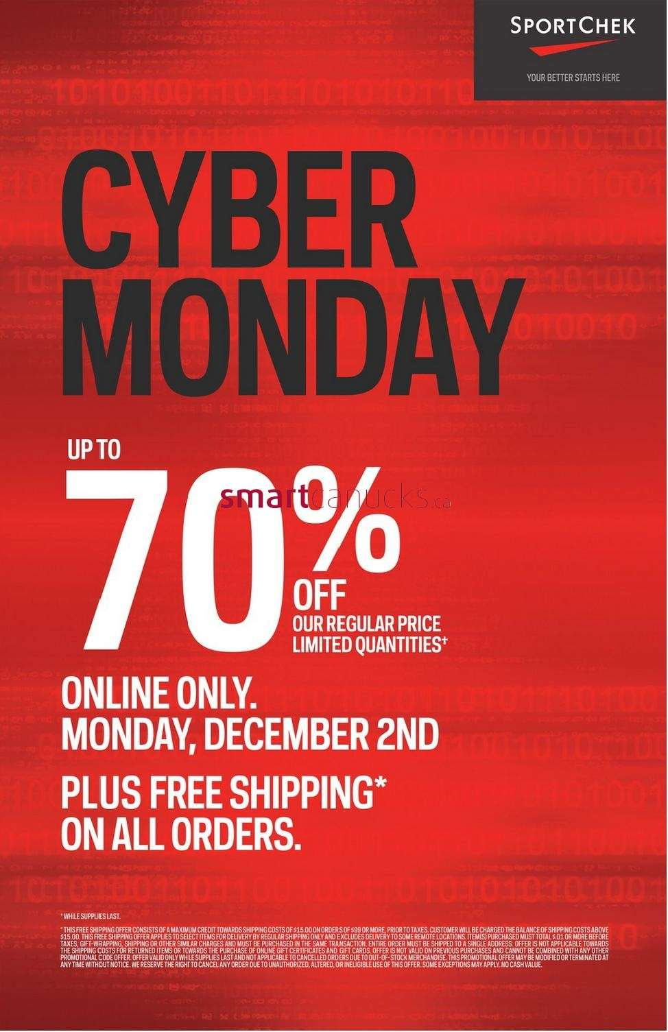 Black Friday & Cyber Monday are coming to Sport Chek this November. Learn all about Sport Chek's Black Friday and Cyber Monday sales events and how you can take advantage of some of the best deals of the year. Take advantage of year-end Black Friday savings between November and online exclusive Cyber Monday deals on November Select.