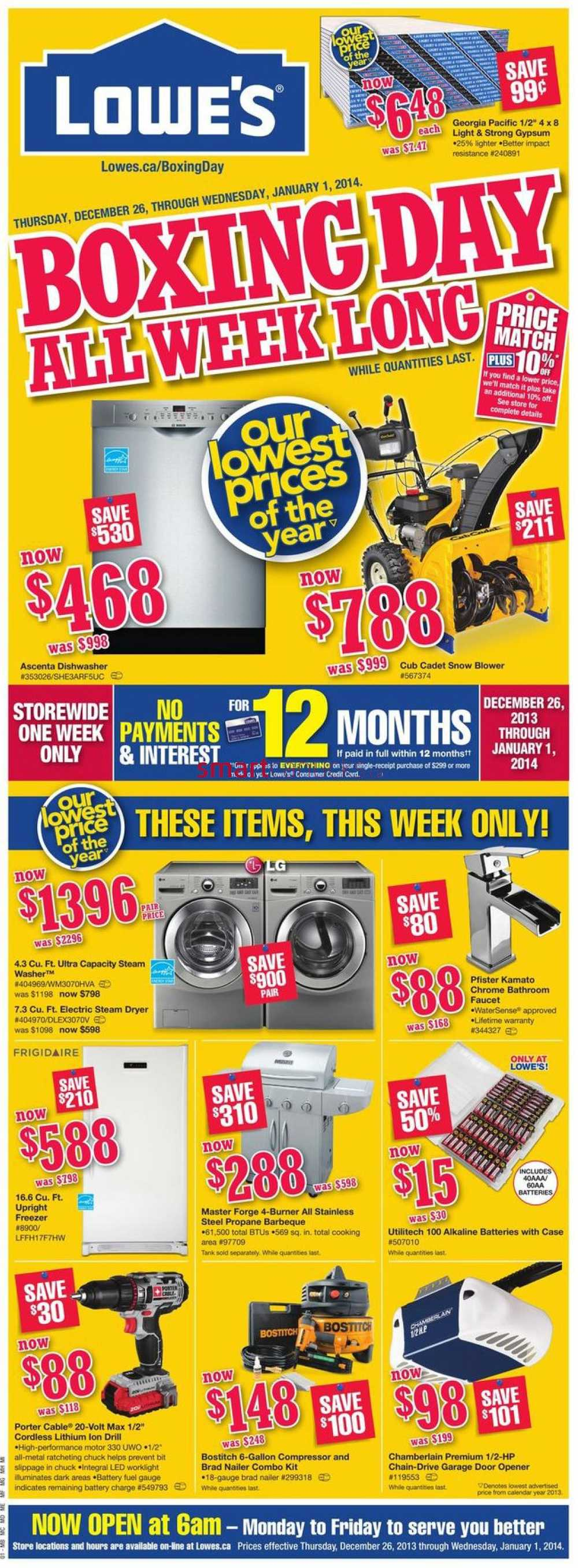 Lowes Coupon December 2013 Lowe's 2013 boxing week flyer