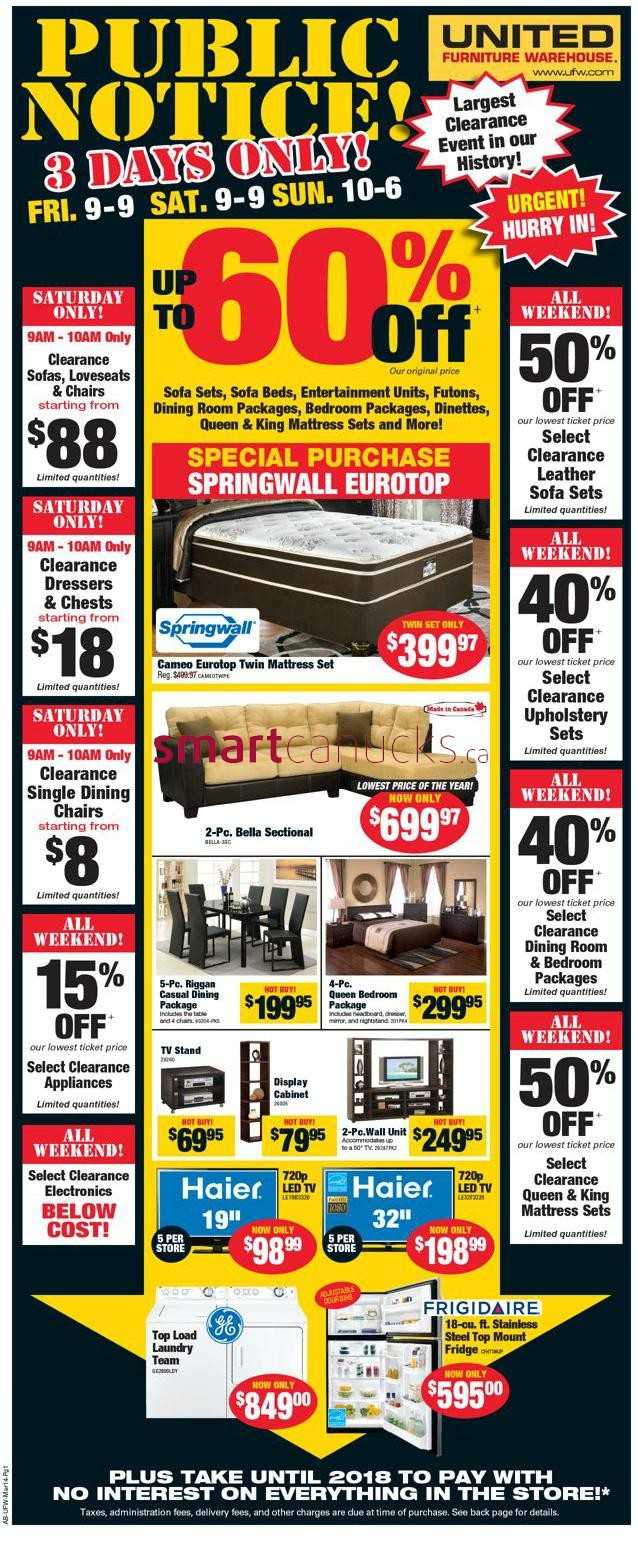 United furniture warehouse canada flyers for I furniture warehouse