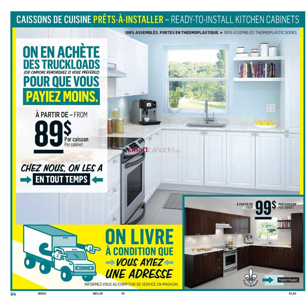 Reno depot flyer april 9 to 15 for Rona kitchen cabinets reviews
