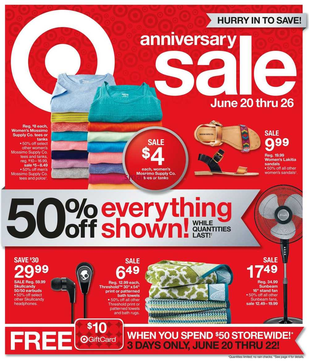 Target on anniversary sale flyer june to