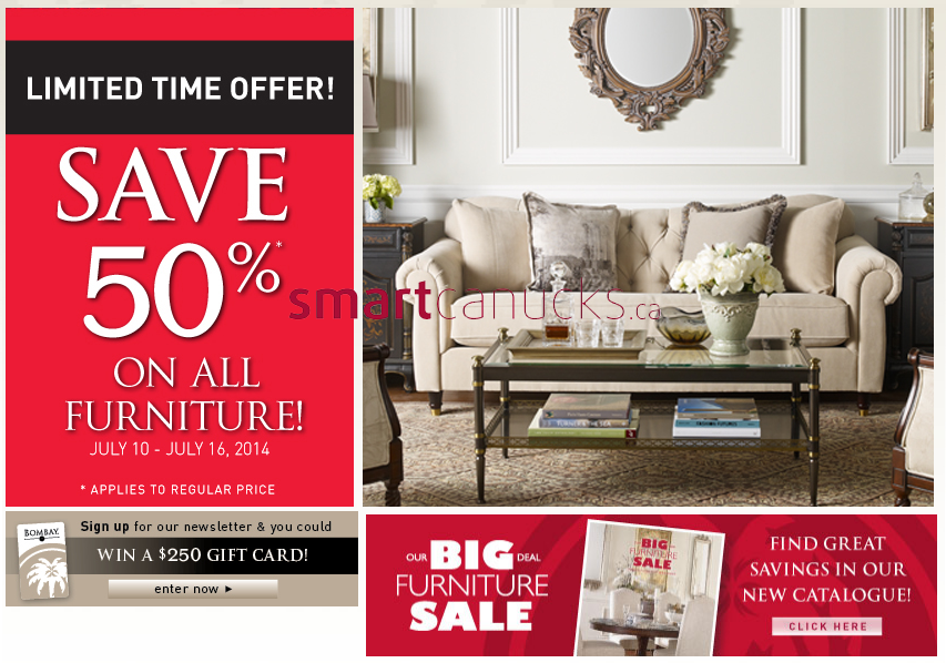 . Bombay Furniture Sale July 10 to 16