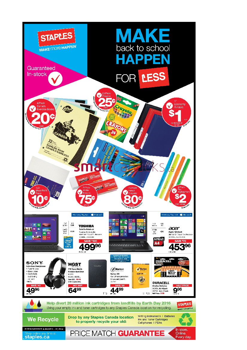 Staples Back To School Flyer On August 6 12