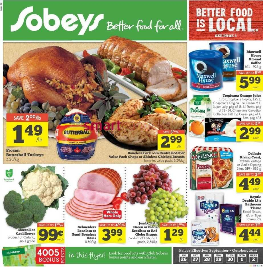Sobeys canada weekly flyers ontario on friday september 26 to