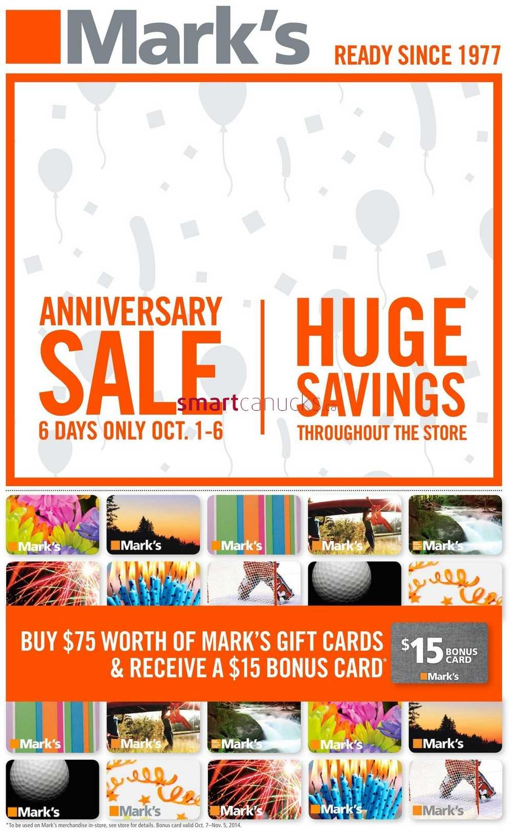 Mark s anniversary sale flyer october to