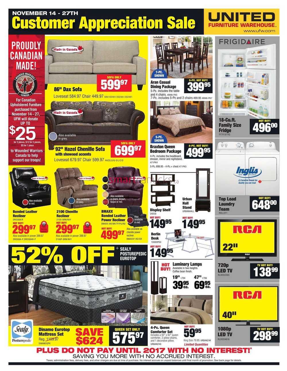 united furniture warehouse flyer november 14 to 27