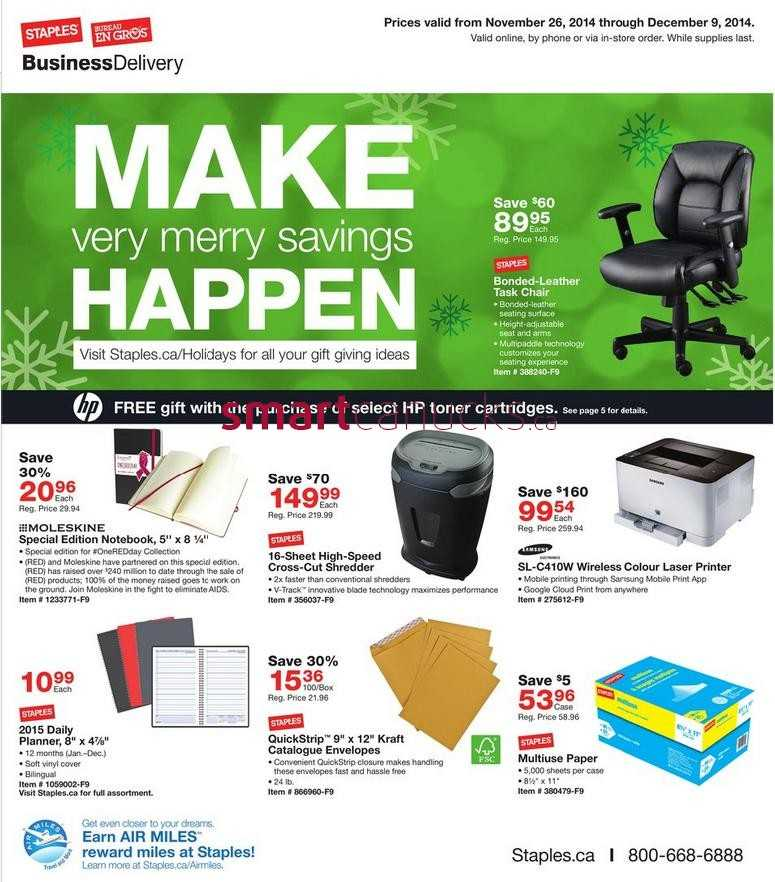 Staples Business Delivery Flyer November 26 To December 9
