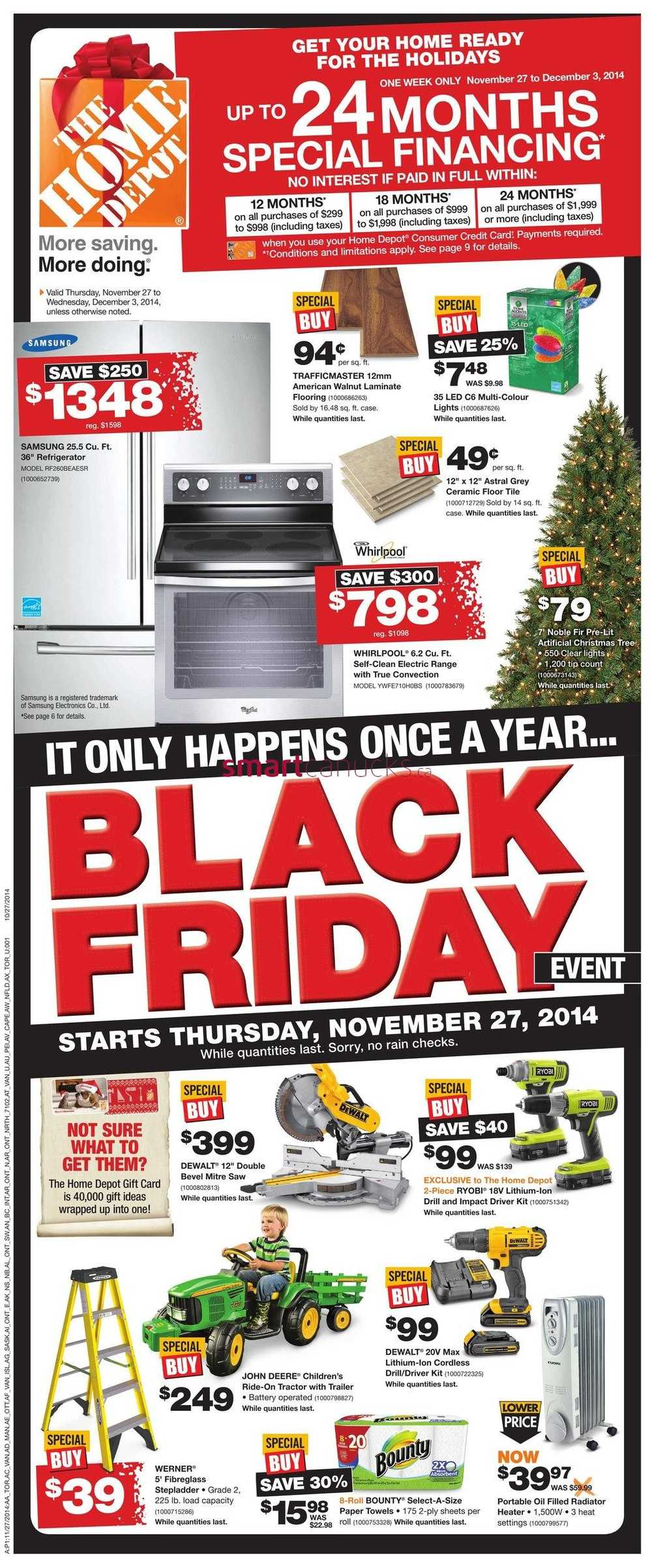 home depot on black friday 2014 flyer november 27 to december 3. Black Bedroom Furniture Sets. Home Design Ideas