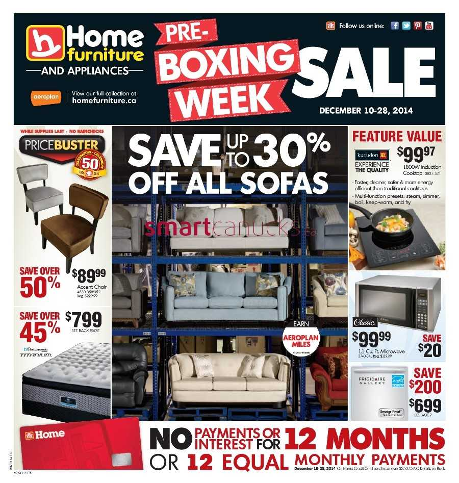 home furniture on pre boxing week flyer to