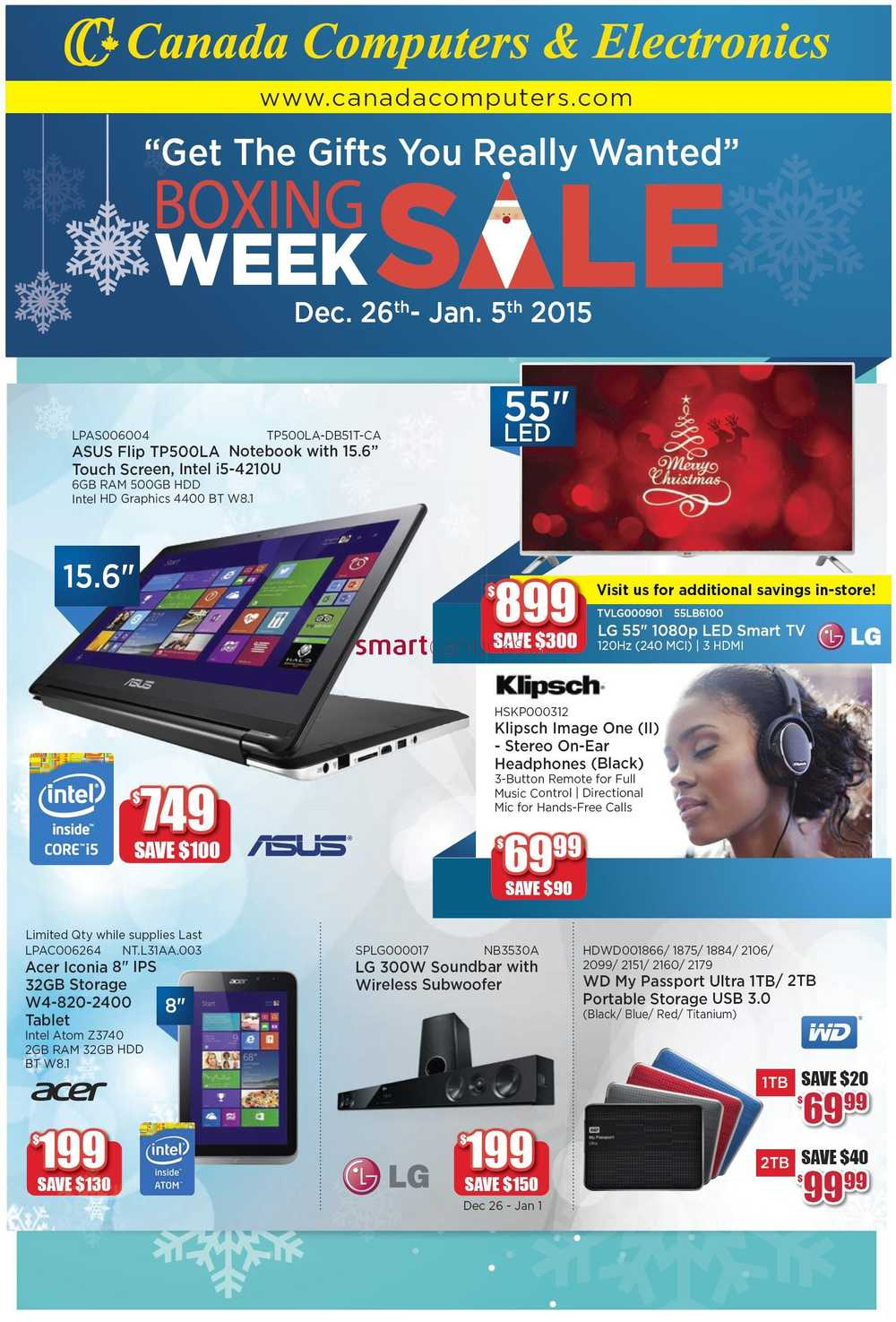 canada computers boxing day week 2014 flyer sales deals