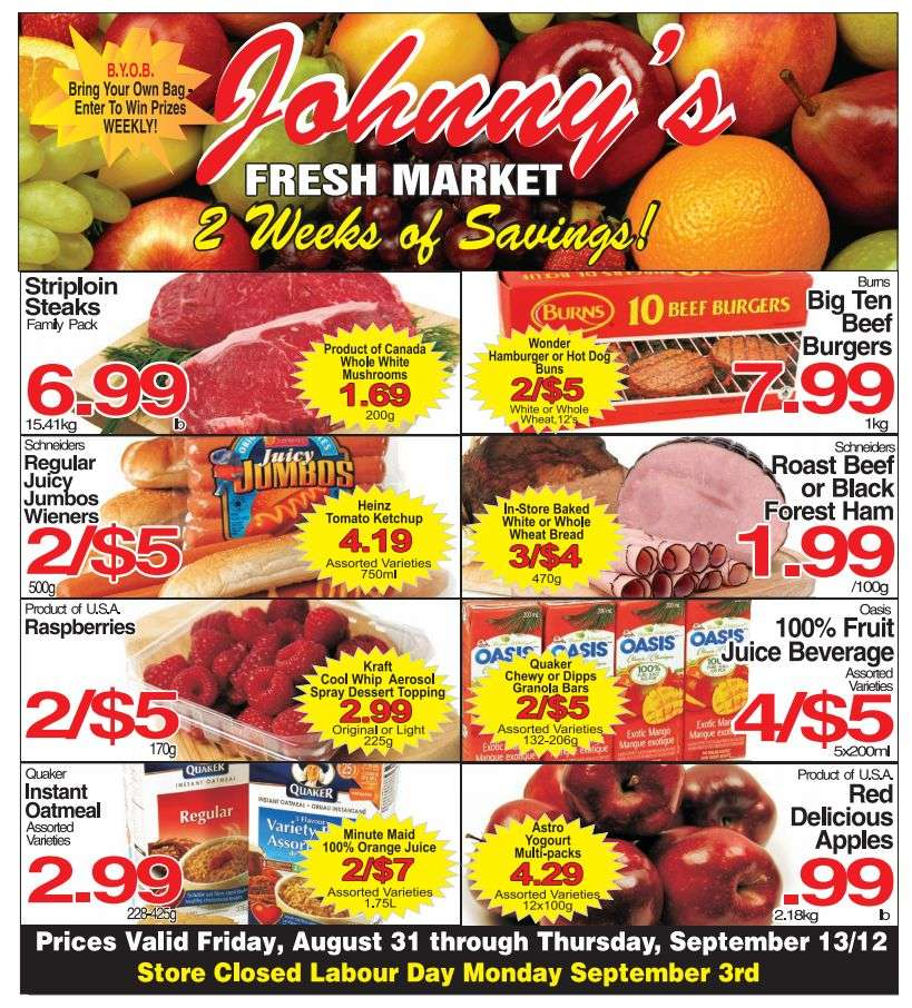 Johnny 39 s fresh market flyer aug 31 to sep 13 for Johnny s fish market