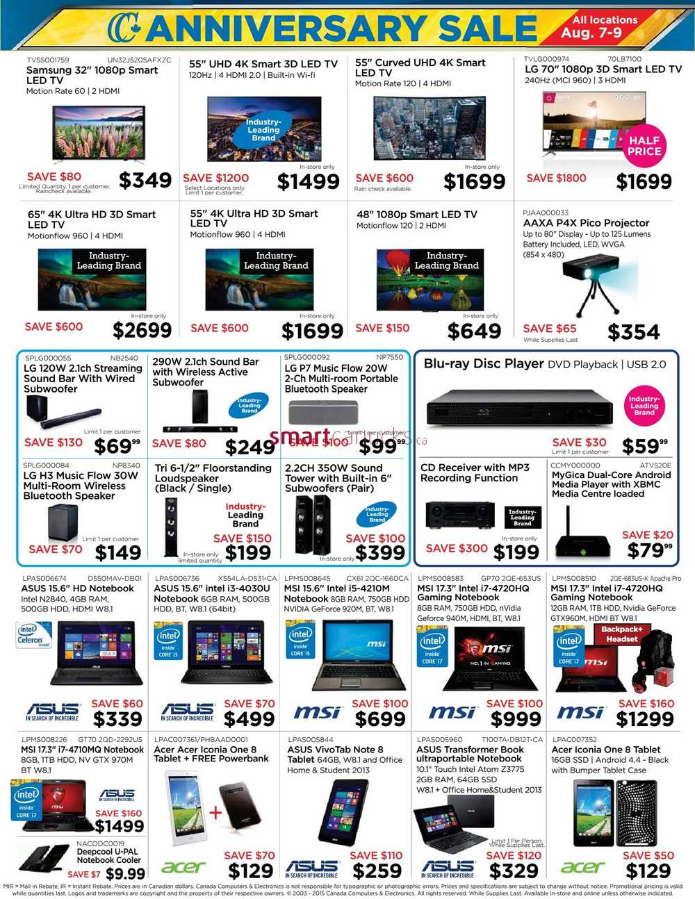 Canada computers anniversary sale flyer august to