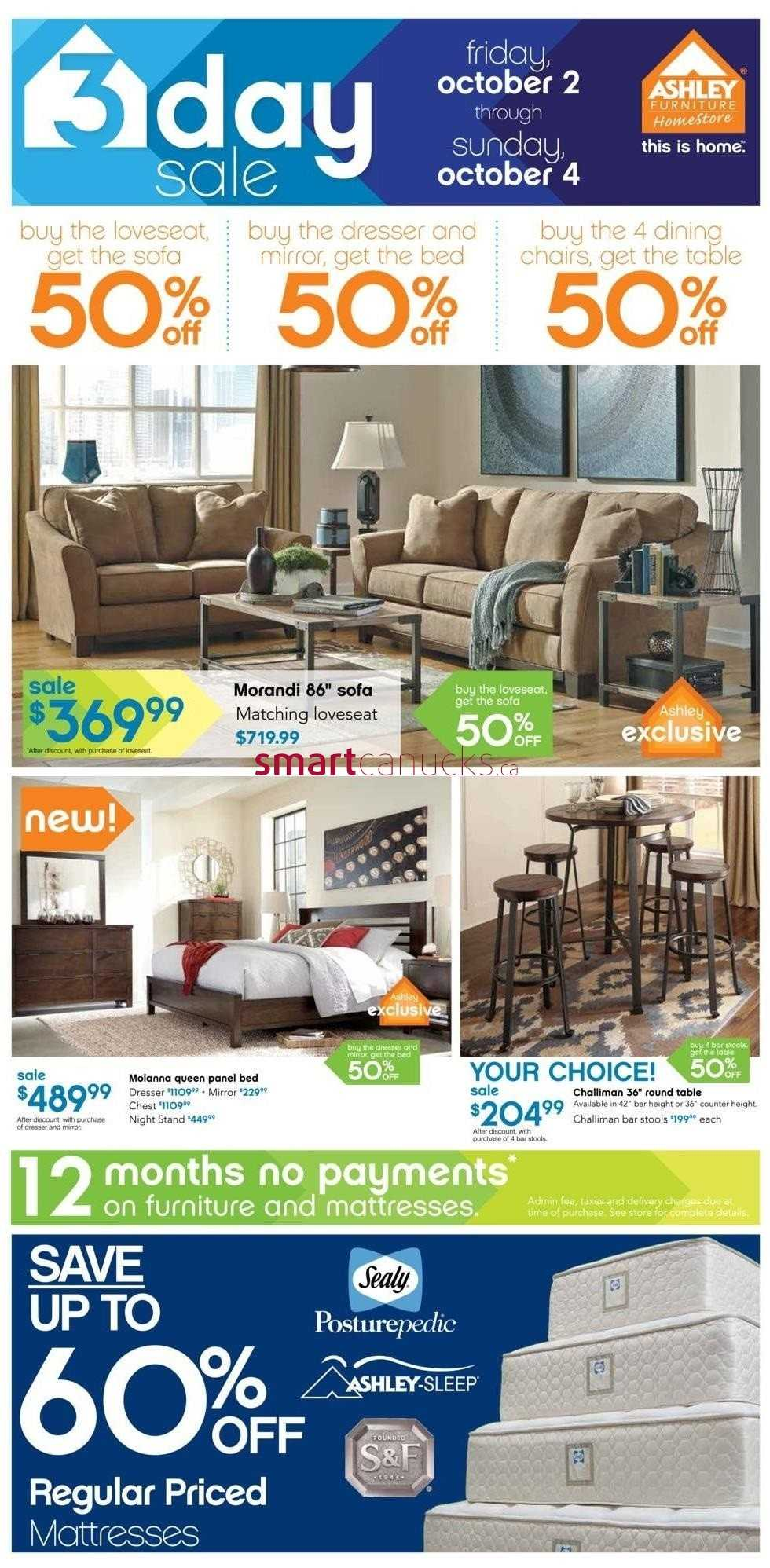 Ashley furniture home store on flyer october 2 to 4 for P s furniture flyer