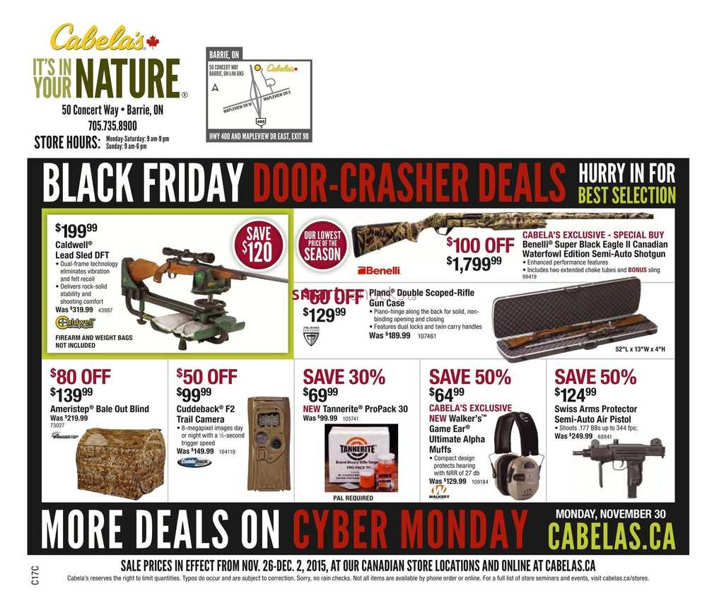 Check out Black Friday Ad of Cabela's to see deals on outdoor adventure sports gears & winter clothing. Cabela's is a specialty retail store that carries outdoor sports & camping gears. Cabelas is one the store that will remain close on Thanksgiving.