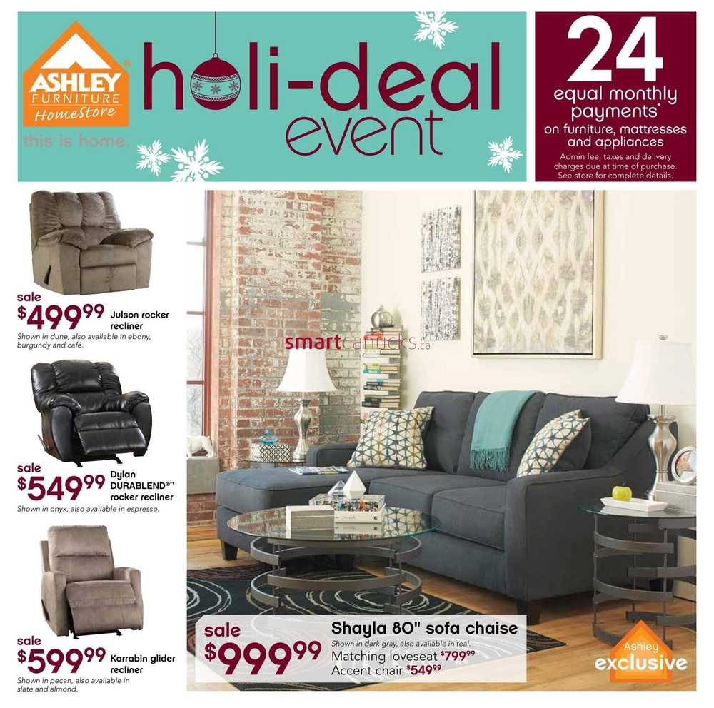 Ashley furniture home store west flyer december 3 to 24 for Ashley furniture homestore canada
