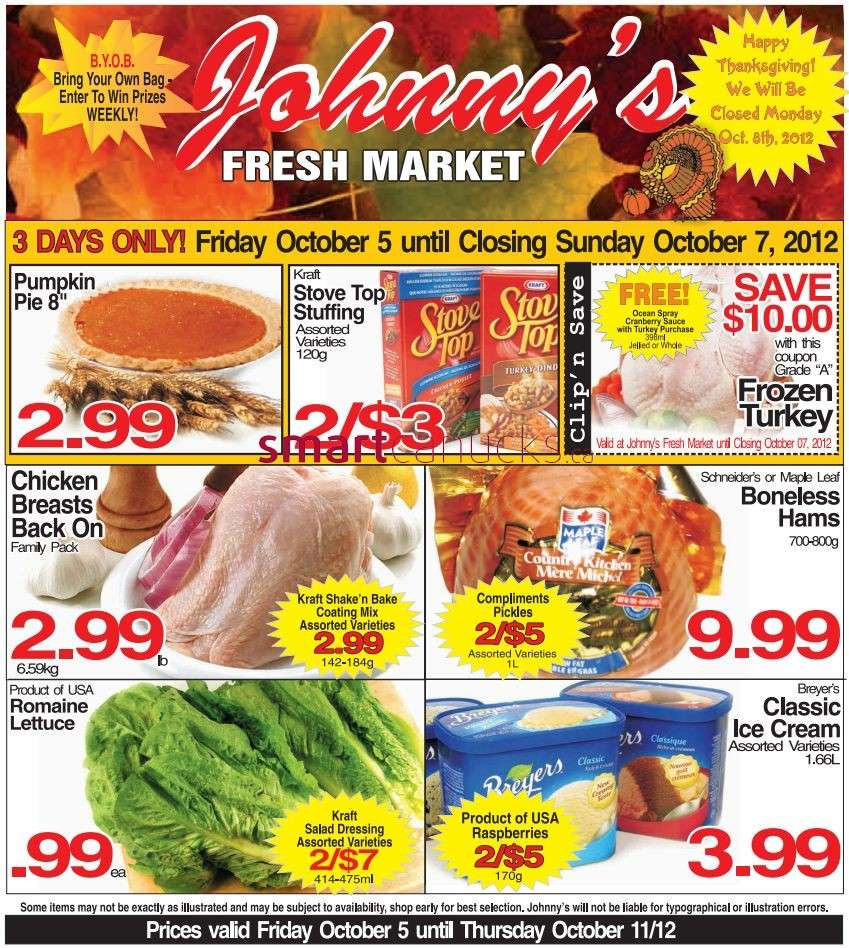 Johnny 39 s fresh market flyer oct 5 to 11 for Johnny s fish market