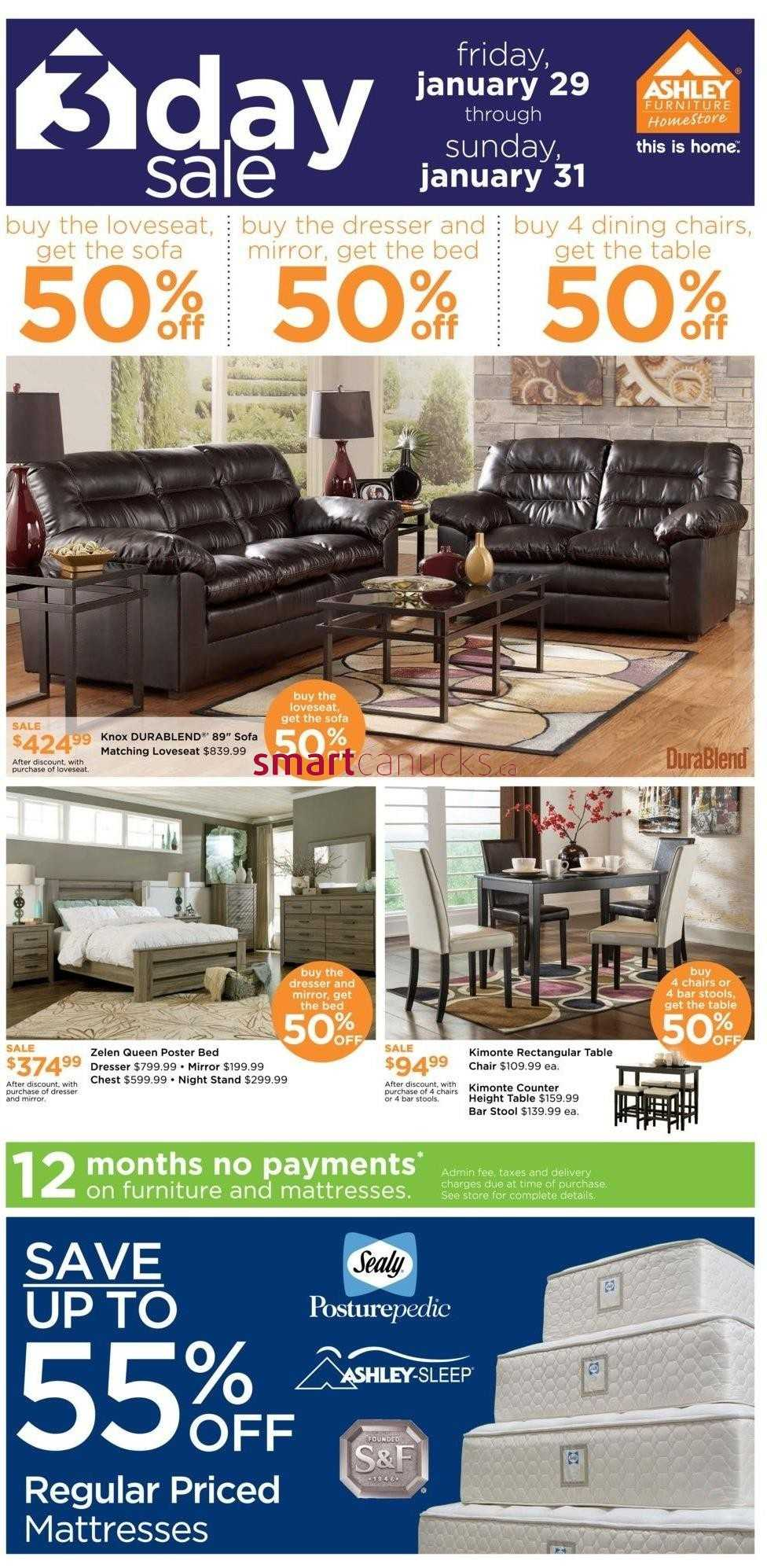 Ashley furniture homestore on flyer january 29 to 31 for Ashley furniture homestore canada