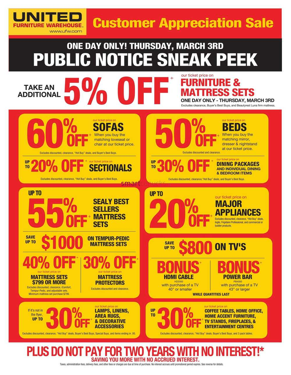 United Furniture Warehouse Flyer March 3 To 7
