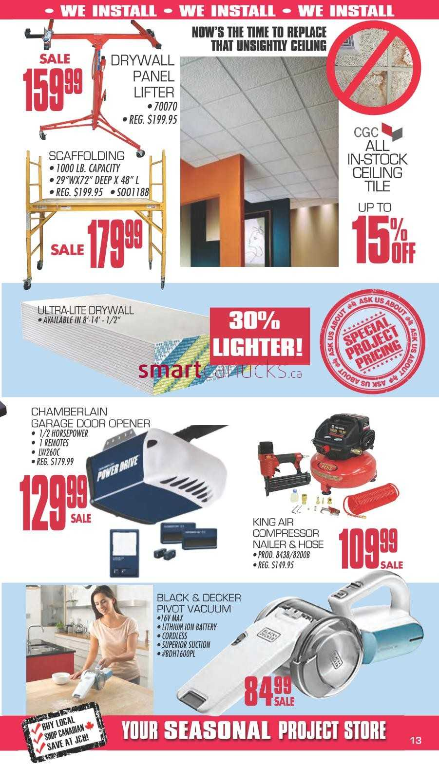 j&h builder's warehouse flyer march 14 to april 2