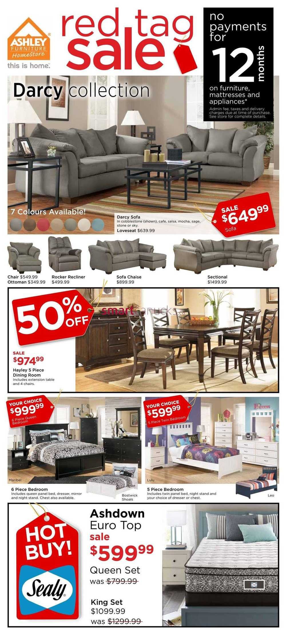 Ashley furniture homestore west flyer march 24 to april 3 for Ashley furniture homestore canada