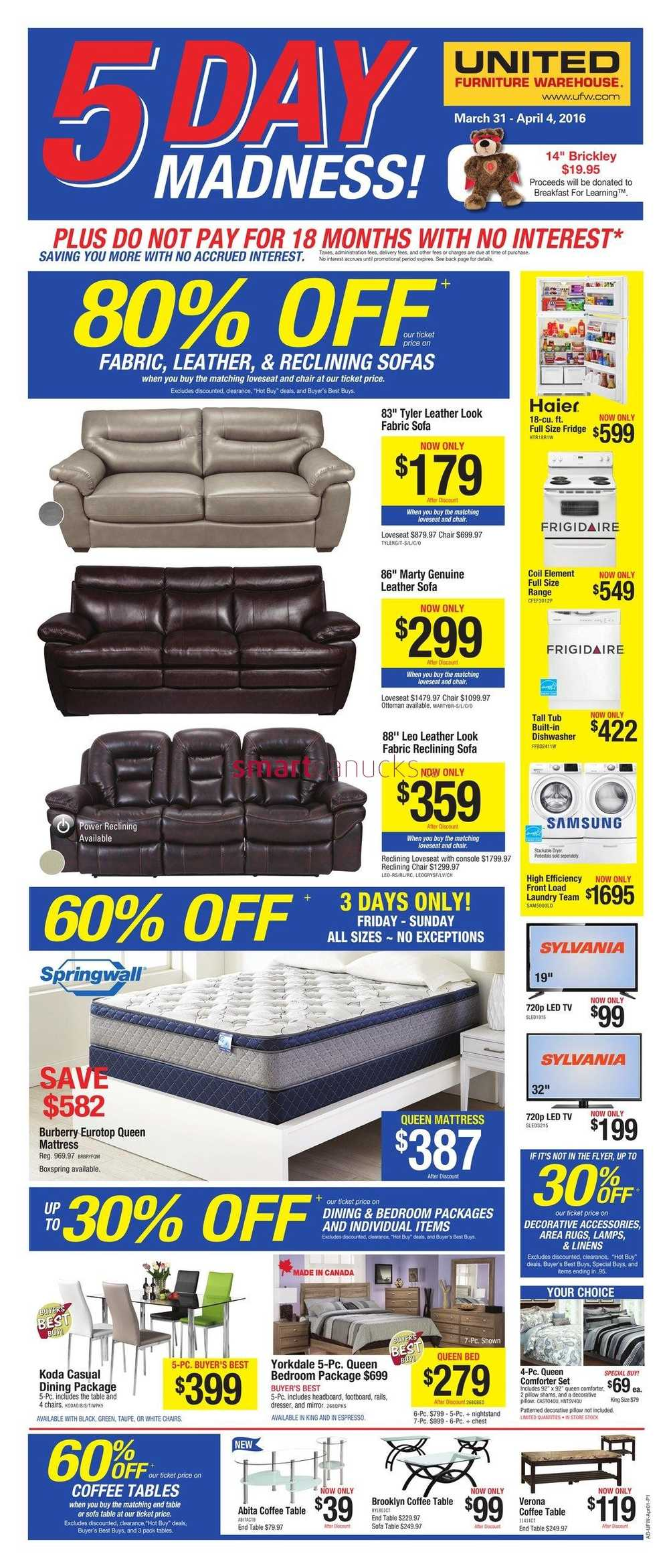 United Furniture Warehouse Flyer March 31 To April 4