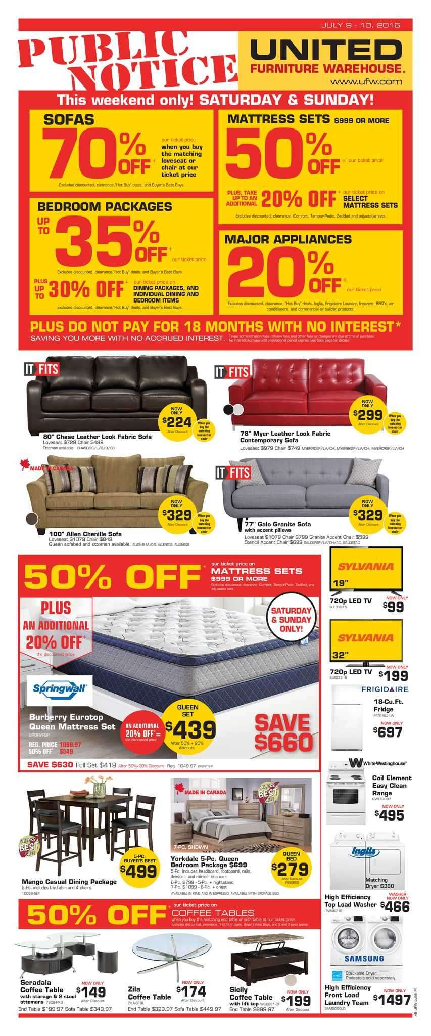 United Furniture Warehouse United Furniture Warehouse Flyer July 9 And