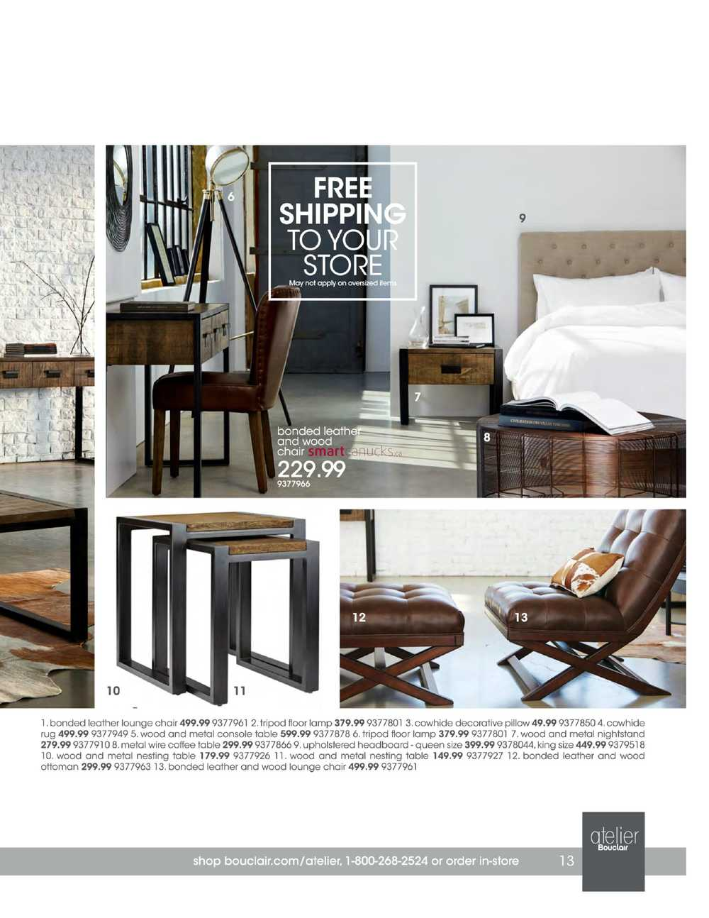 Bouclair atelier furniture catalogue 2016 for Furniture catalogue