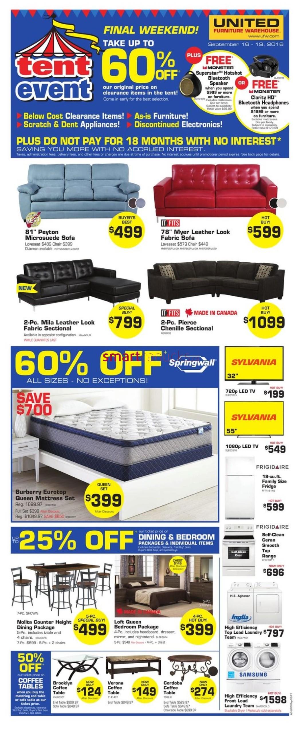 united furniture warehouse flyer september 16 to 19