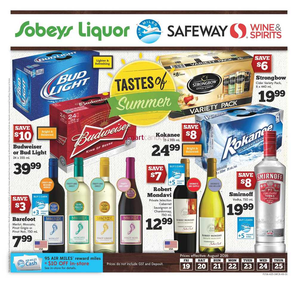 Safeway (West) Liquor Flyer August 19 To 25