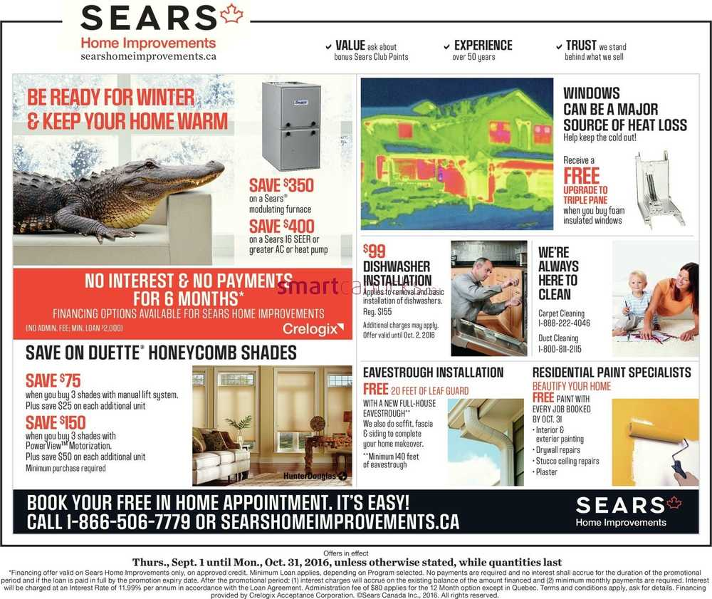 Sears Home Improvements For Less. Want to save on your next order from Sears Home Improvements? Here are a few hot tips: first, check Groupon Coupons for the latest deals! Then, while you're shopping with Sears Home Improvements, sign up for emails if you can. This is an easy way to get alerts about promotions without having to hunt them down.