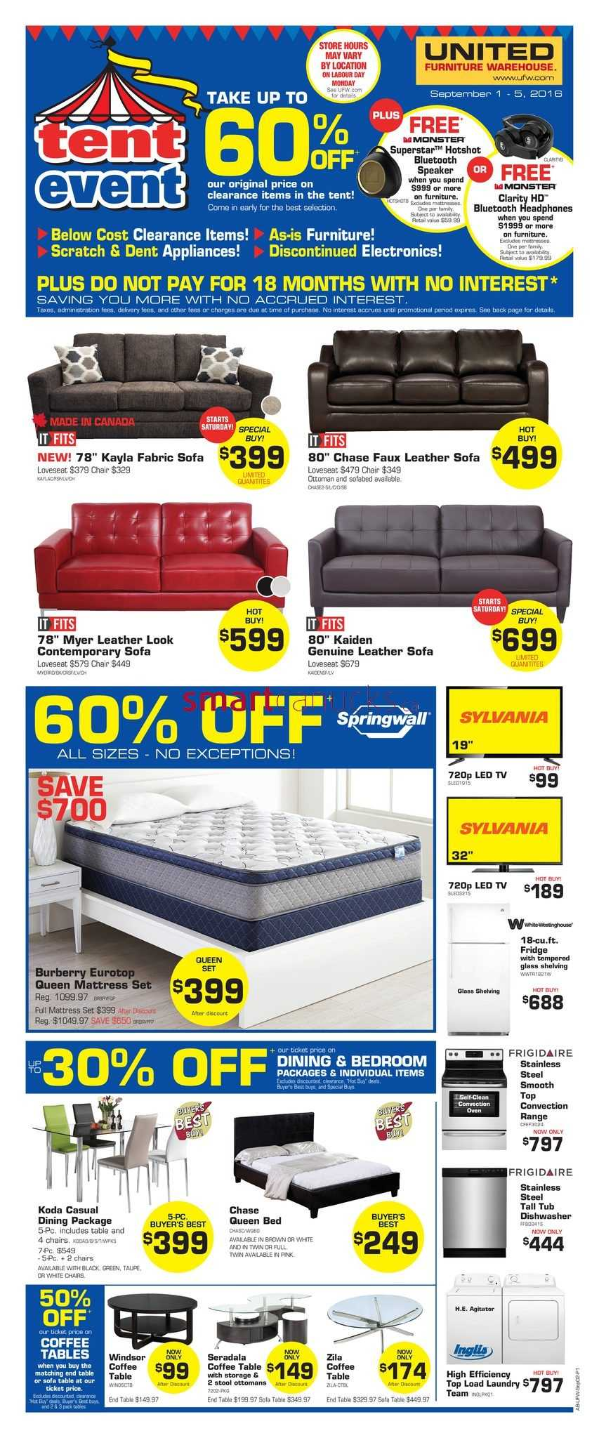 United furniture warehouse canada flyers for Furniture w sale warehouse