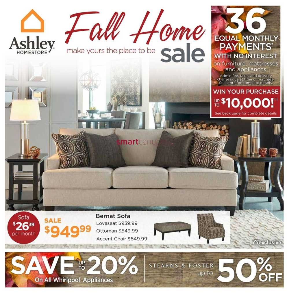 Ashley furniture homestore west flyer september 8 to 24 for Ashley furniture homestore canada
