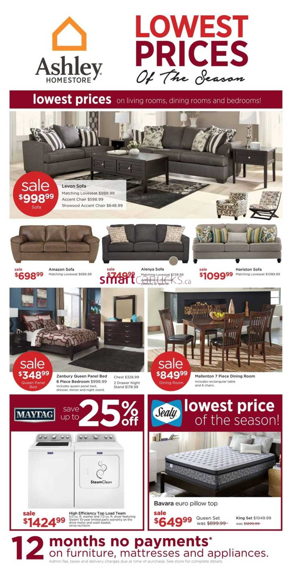 Ashley furniture homestore west flyer september 29 to for Ashley furniture homestore canada