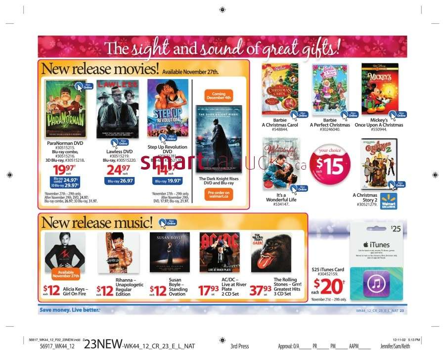 walmarton flyer nov 23 to 2928 Walmart Canada Black Friday Flyer Sales 2012