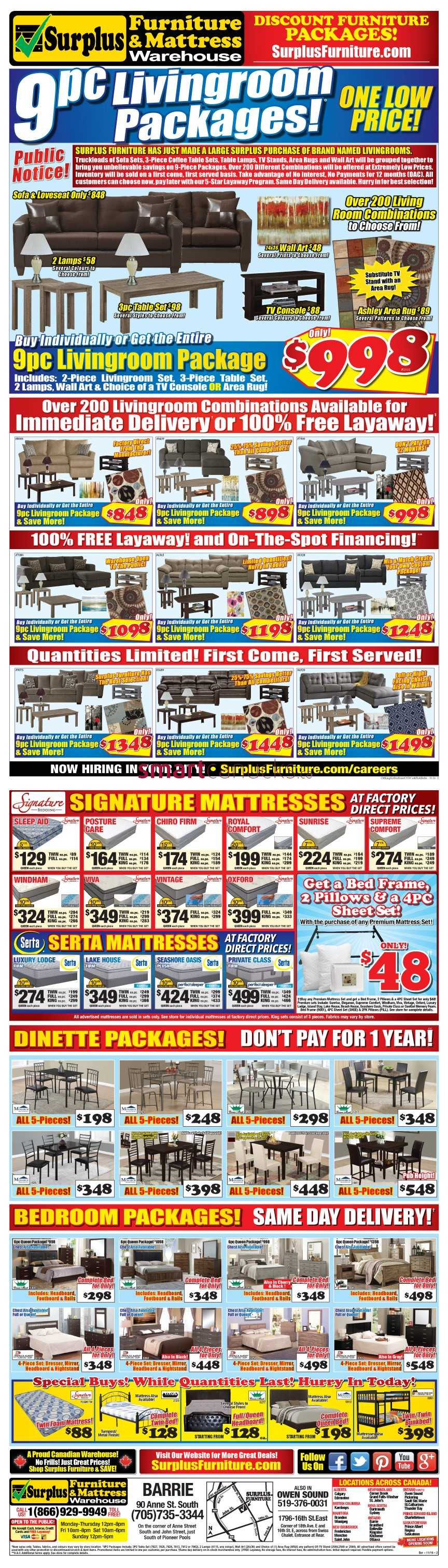 Surplus furniture mattress warehouse barrie flyer for Surplus furniture and mattress barrie