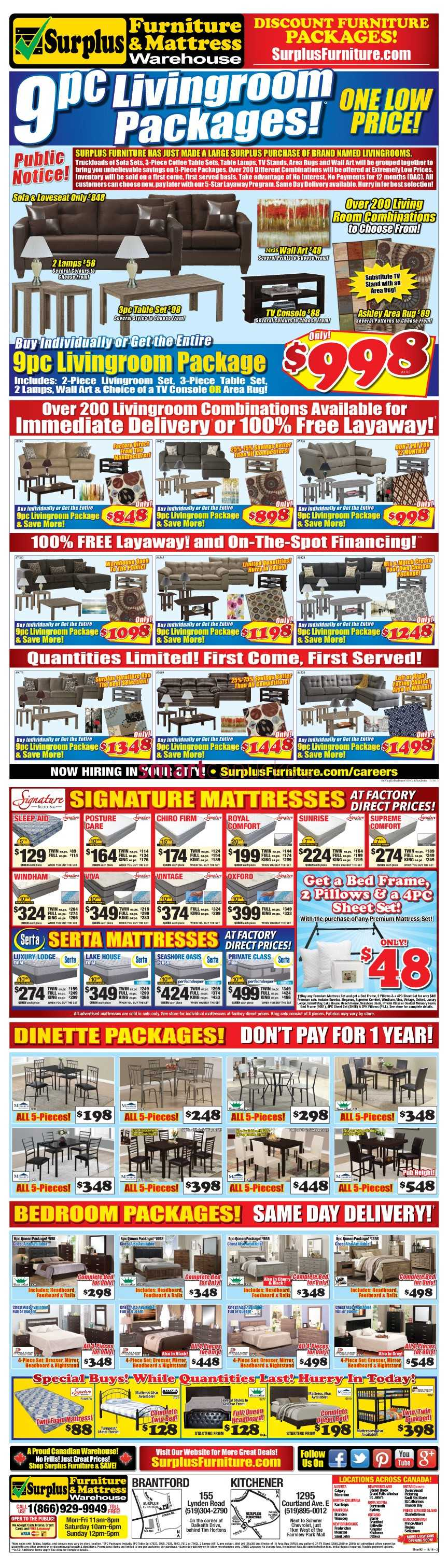 surplus furniture mattress warehouse brantford