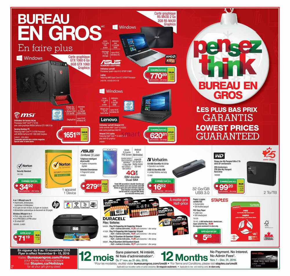 Staples canada flyers for Buro en gros