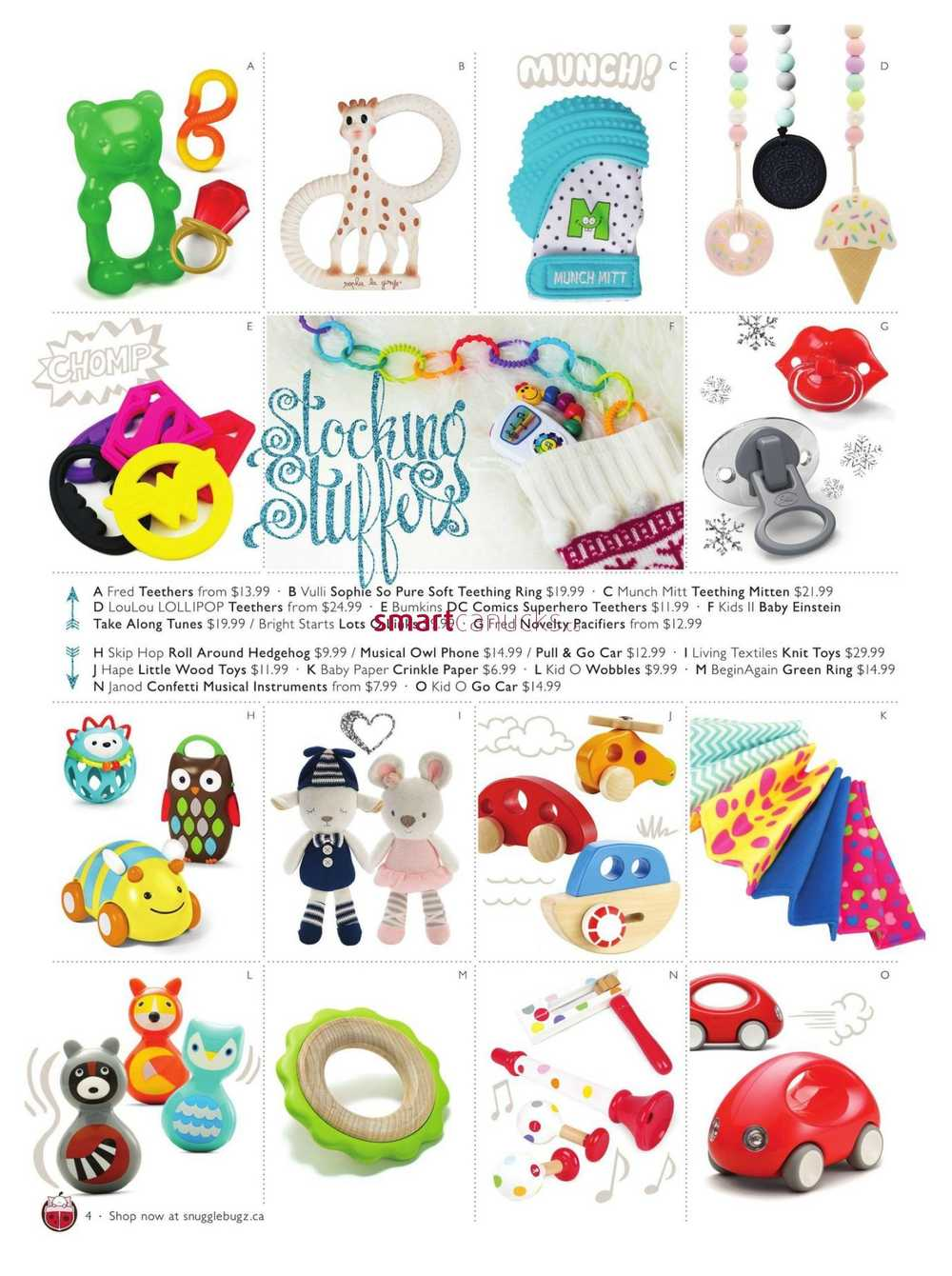 Snuggle Bugz Christmas Toy and Gift Guide November 7 to December 25