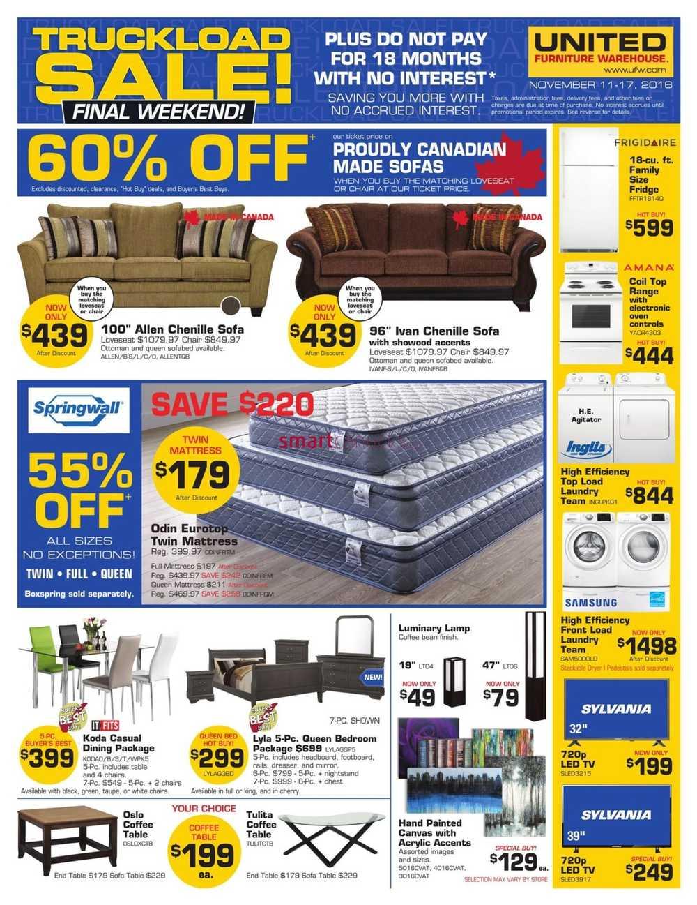 united furniture warehouse flyer november 11 to 17